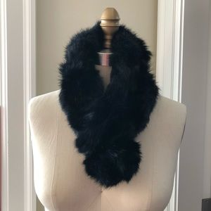 Rabbit Fur Scarf Neck Wrap Collar Black